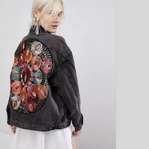 Oversized Embroidered Denim Jacket